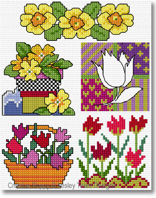 Lesley Teare Designs - 30 Spring Flower motifs (cross stitch chart)