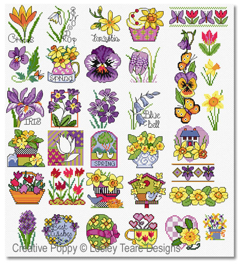 30 Spring flower motifs cross stitch pattern by Lesley Teare designs