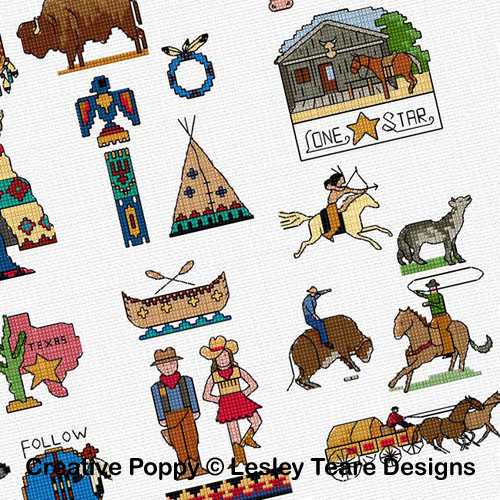 30 Wild West motifs cross stitch pattern by Lesley Teare designs, zoom 1