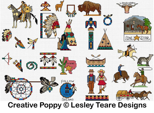 30 Wild West motifs cross stitch pattern by Lesley Teare designs