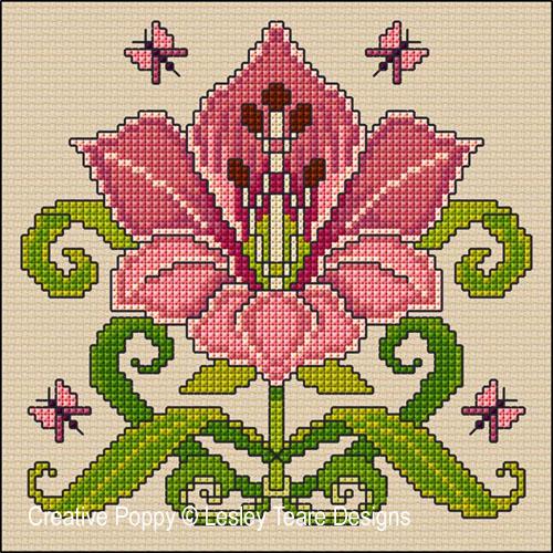Lesley Teare Designs - Art nouveau Lily (Cross stitch chart)