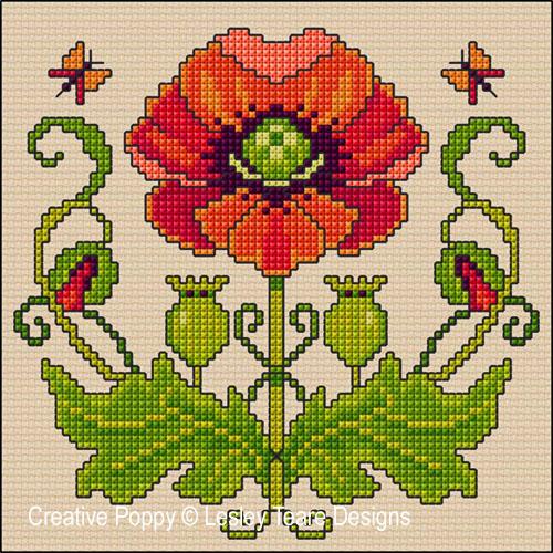 Lesley Teare Designs - Art Nouveau Poppy (Cross stitch chart)