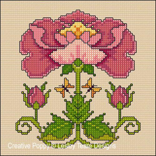 Lesley Teare Designs - Art Nouveau Rose (Cross stitch chart)