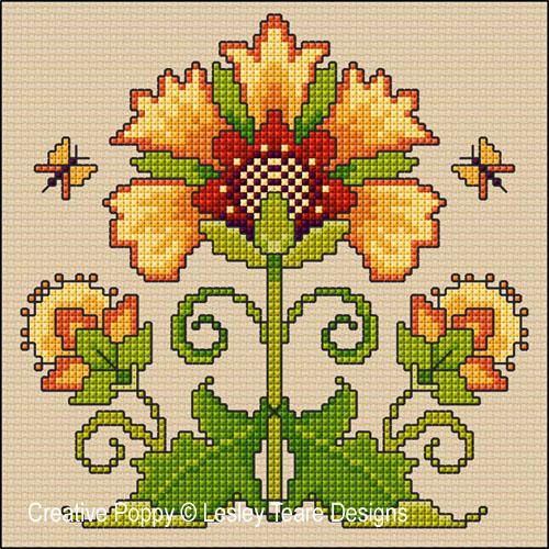 Lesley Teare Designs - Art Nouveau Sunflower (Cross stitch chart)