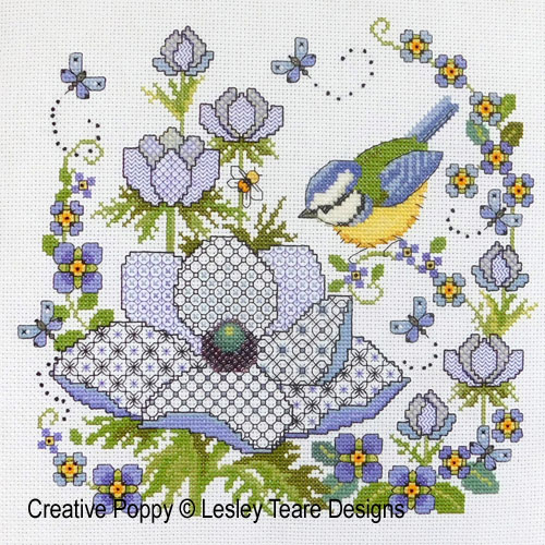 Blackwork Anemones and Blue-tit cross stitch pattern by Lesley Teare Designs