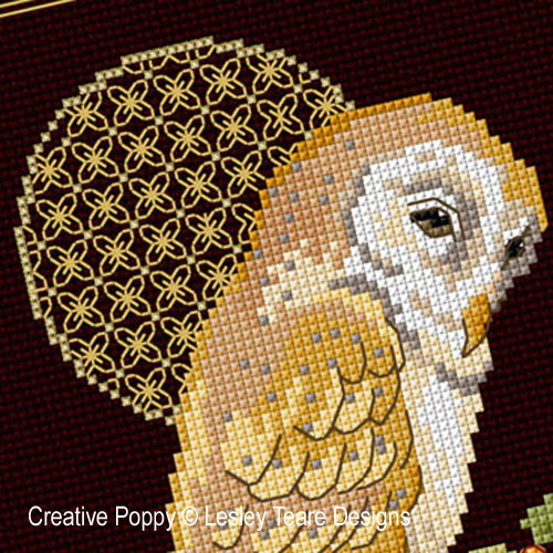 Barn Owl with decorative Moon cross stitch pattern by Lesley Teare Designs, zoom 1