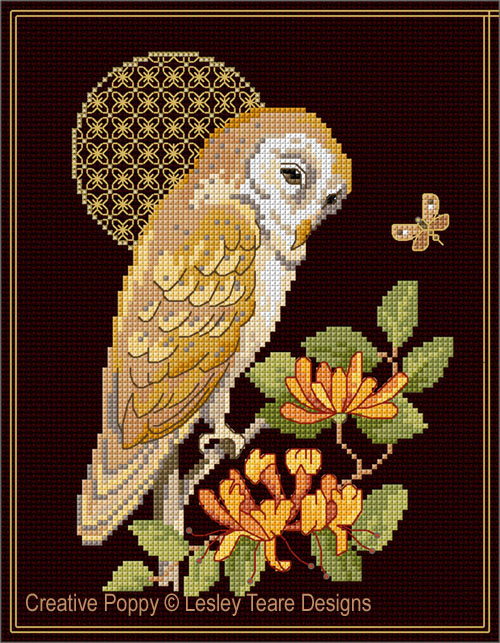 Barn Owl with decorative Moon cross stitch pattern by Lesley Teare Designs