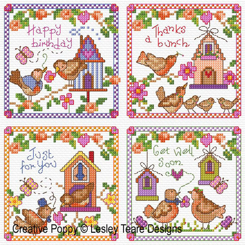 Bird House Tweets cross stitch pattern by Lesley Teare Designs
