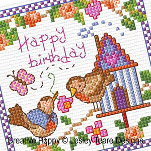 Bird House Tweets cross stitch pattern by Lesley Teare Designs, zoom 1