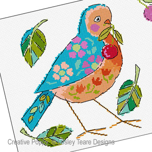 Birdie Duo cross stitch pattern by Lesley Teare Designs, zoom 1