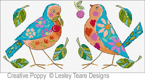 Birdie Duo cross stitch pattern by Lesley Teare Designs