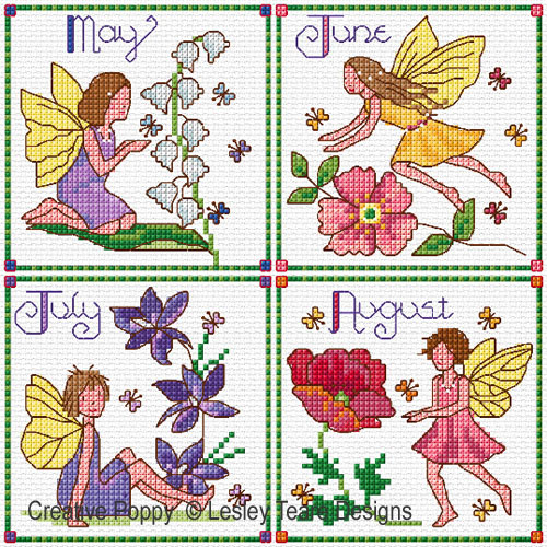 Monthly Birthday Fairies - May to August cross stitch pattern by Lesley Teare Designs