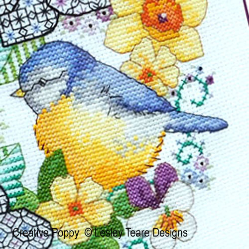 Lesley Teare Designs - Blackwork Anemones and Blue-Tit zoom 1