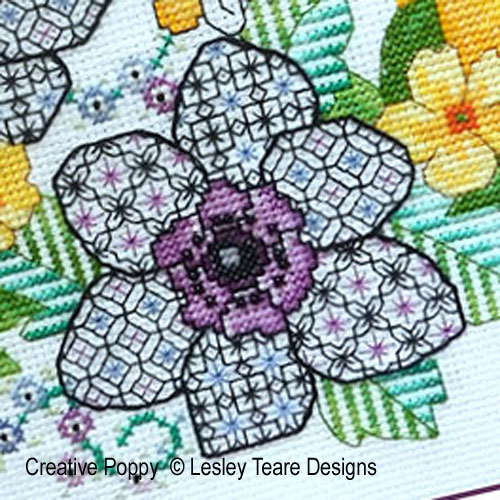 Blackwork Anemones & Blue Tit cross stitch pattern by Lesley Teare Designs