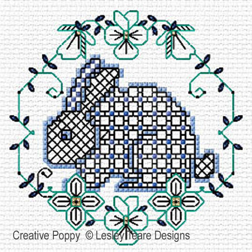 Blackwork Easter designs cross stitch pattern by Lesley Teare Designs, zoom 1