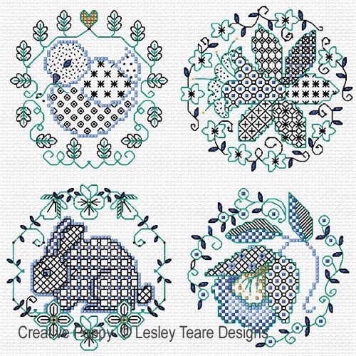 Blackwork Easter designs cross stitch pattern by Lesley Teare Designs