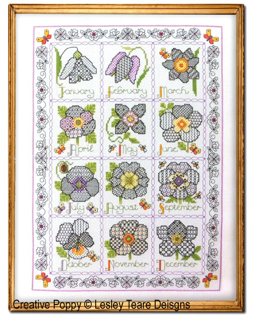Blackwork Flower Calendar Sampler cross stitch pattern by Lesley Teare Designs