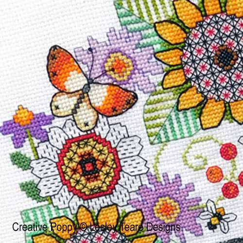 Blackwork Flowers and Goldfinch cross stitch pattern by Lesley Teare Designs, zoom 1