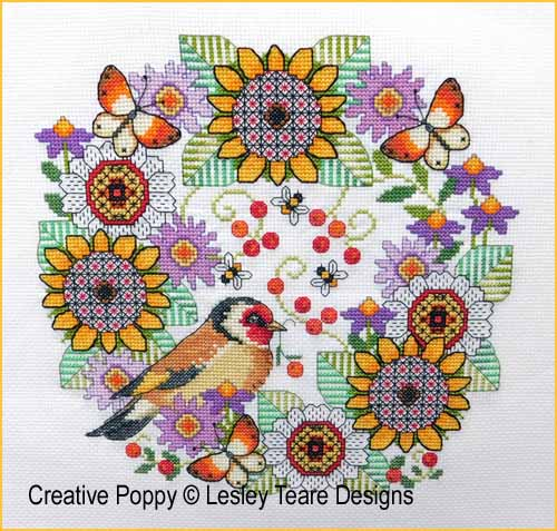 Blackwork Flowers and Goldfinch cross stitch pattern by Lesley Teare Designs
