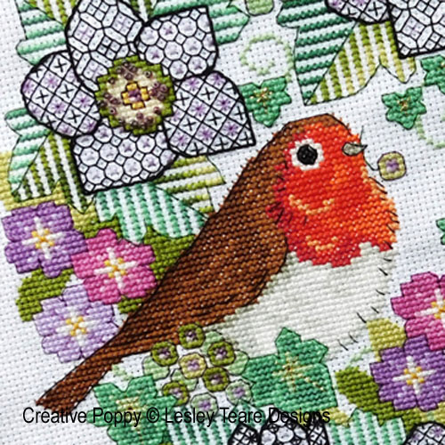 Blackwork Flowers with Robin cross stitch pattern by Lesley Teare Designs
