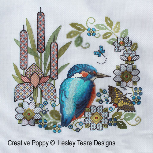 Blackwork Iris & Kingfisher cross stitch pattern by Lesley Teare Designs