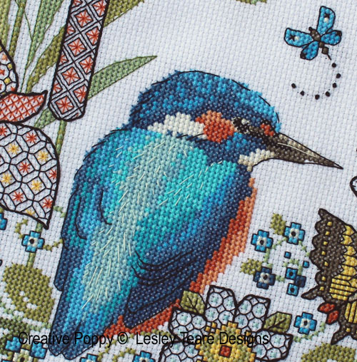 Lesley Teare Designs - Blackwork Iris and Kingfisher zoom 1