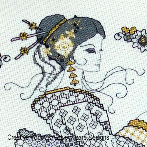 Blackwork Oriental Beauty cross stitch pattern by Lesley Teare Designs, zoom 1