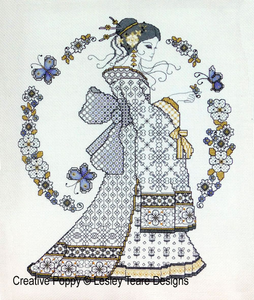 Blackwork Oriental Beauty cross stitch pattern by Lesley Teare Designs