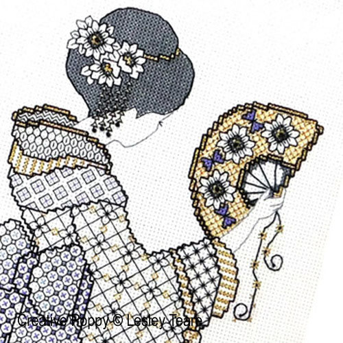 Blackwork Oriental Charm cross stitch pattern by Lesley Teare Designs