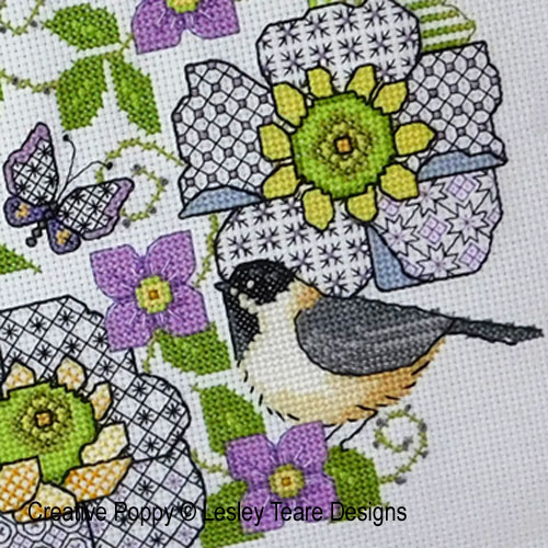 Blackwork Scabious and Chickadee cross stitch pattern by Lesley Teare Designs, zoom 1