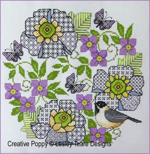 Blackwork Scabious and Chickadee cross stitch pattern by Lesley Teare Designs