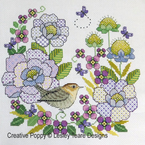 Blackwork Scabious and Wren cross stitch pattern by Lesley Teare Designs