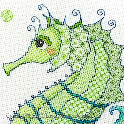 Blackwork Seahorse and friends cross stitch pattern by Lesley Teare Designs, zoom 1