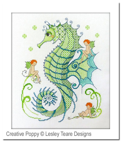 Blackwork Seahorse and friends cross stitch pattern by Lesley Teare Designs