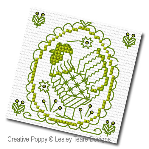 Blackwork Spring Motifs cross stitch pattern by Lesley Teare Designs