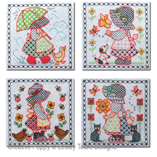Blackwork Sunbonnet Sue cross stitch pattern by Lesley Teare Designs