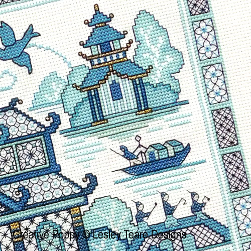 Blackwork Willow 2 cross stitch pattern by Lesley Teare Designs