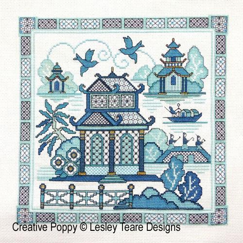 Blackwork Willow 2 cross stitch pattern by Lesley Teare Designs