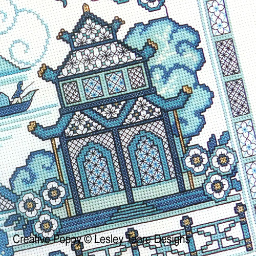 Blackwork Willow 1 cross stitch pattern by Lesley Teare Designs