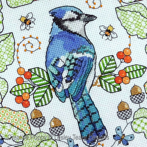 Blue Jay amongst Oak leaves cross stitch pattern by Lesley Teare Designs, zoom 1