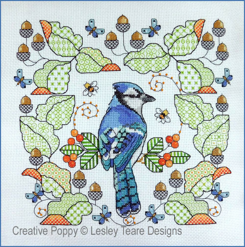 Blue Jay amongst Oak leaves cross stitch pattern by Lesley Teare Designs