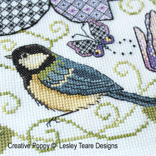 Blue-tits (chickadees), sparrows and small birds patterns to cross stitch