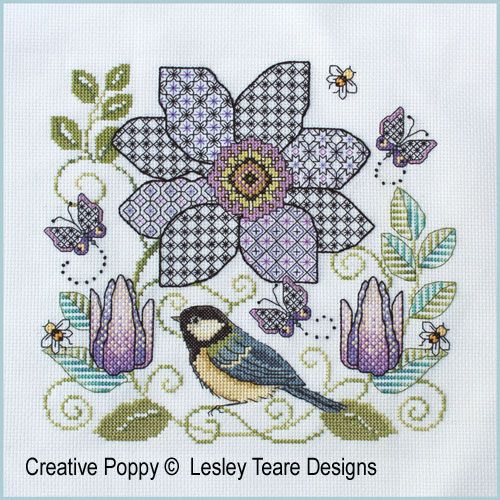 Clematis Flower & Great Tit cross stitch pattern by Lesley Teare Designs