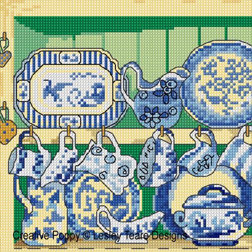 Blue & White Dresser cross stitch pattern by Lesley Teare designs, zoom 1