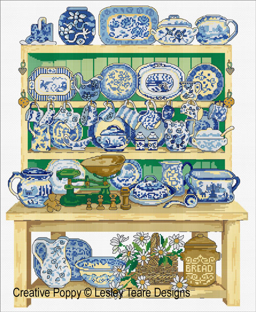 Blue & White Dresser cross stitch pattern by Lesley Teare designs