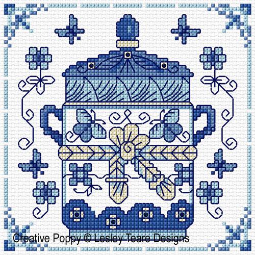 Blue & White pottery cross stitch pattern by Lesley Teare designs, zoom 1