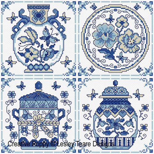 Blue & White pottery cross stitch pattern by Lesley Teare designs