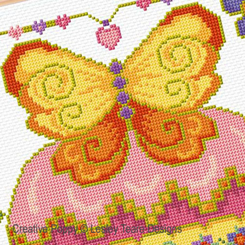 Butterfly Cupcake cross stitch pattern by Lesley Teare Designs, zoom 1