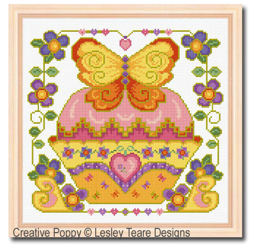 Butterfly Cupcake cross stitch pattern by Lesley Teare Designs