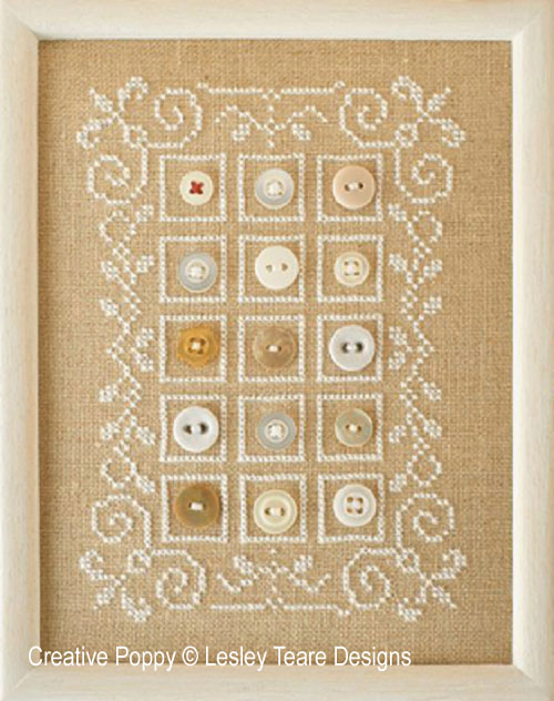 Button Sampler cross stitch pattern by Lesley Teare Designs